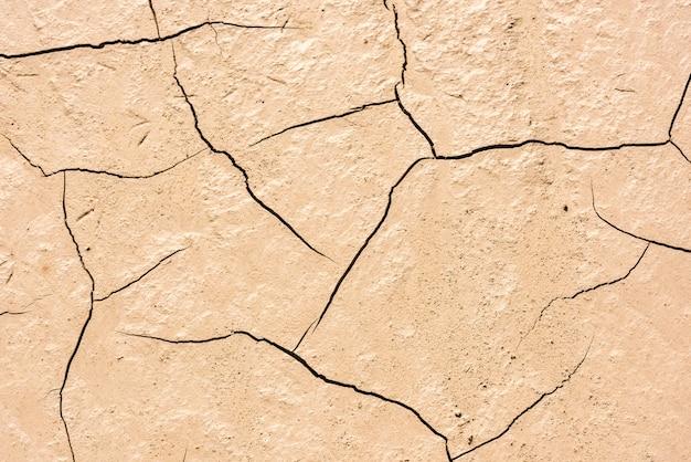 Detalhes de um solo seco de terra rachada
