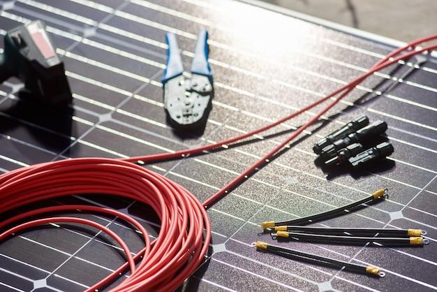 Detalhes diferentes, instrumentos para instalação do sistema solar