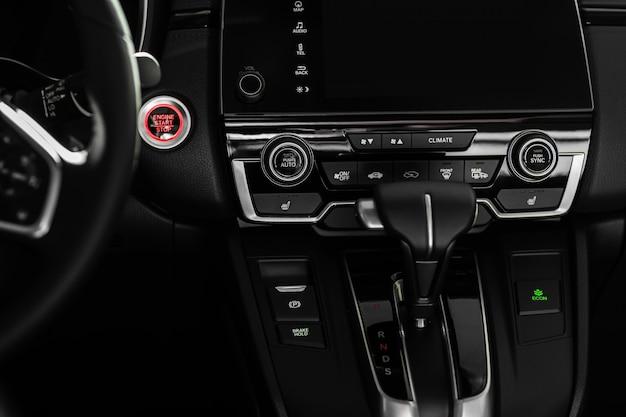 Detalhes do interior do carro elegante, interior de couro