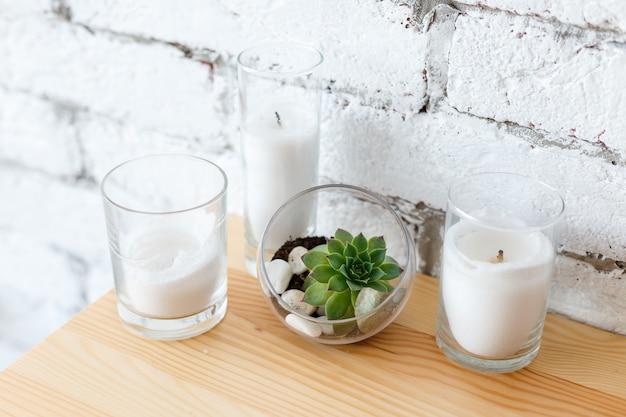 Detalhes do mini jardim suculento com design de interiores escandinavo em terrário de vidro sobre mesa de madeira