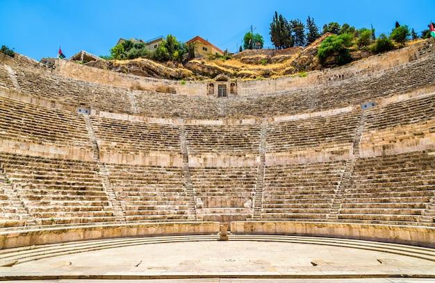 Detalhes do teatro romano em amã - jordânia