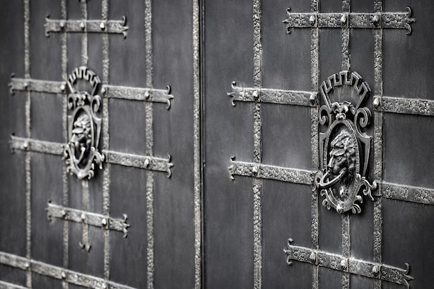 Detalhes, estrutura e ornamentos de portão de ferro forjado. ornamen decorativo com leões, feito de metal.