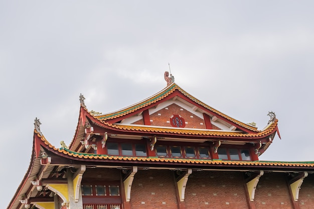 Detalhes, portas e janelas, beirais e cantos na arquitetura budista chinesa tradicional