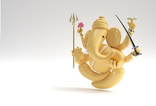 Deus hindu ganesha estátua - hindu religião festival conceito elefante. ilustração 3d render.