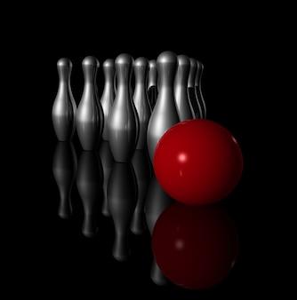 Dez pinos de boliche de metal e bola vermelha no preto - ilustração 3d