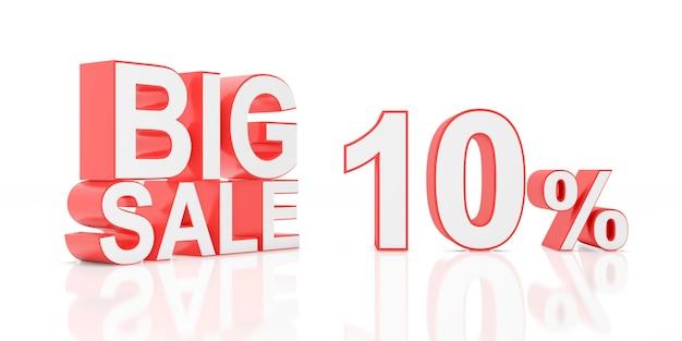 Dez por cento de venda. grande venda para banner do site. renderização em 3d.