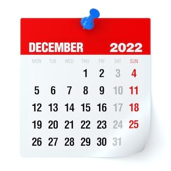 Dezembro de 2022 - calendário. isolado no fundo branco. ilustração 3d