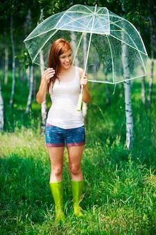Dia chuvoso de verão na floresta