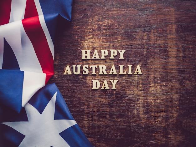 Dia da austrália. cartão bonito e brilhante. vista do topo