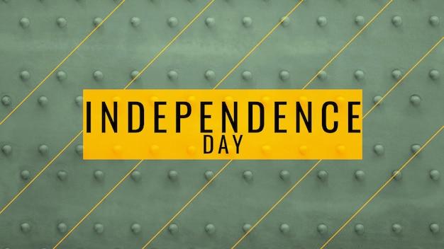 Dia da independência do texto sobre fundo verde de aço militar. ilustração 3d elegante e luxuosa para modelo militar e de guerra
