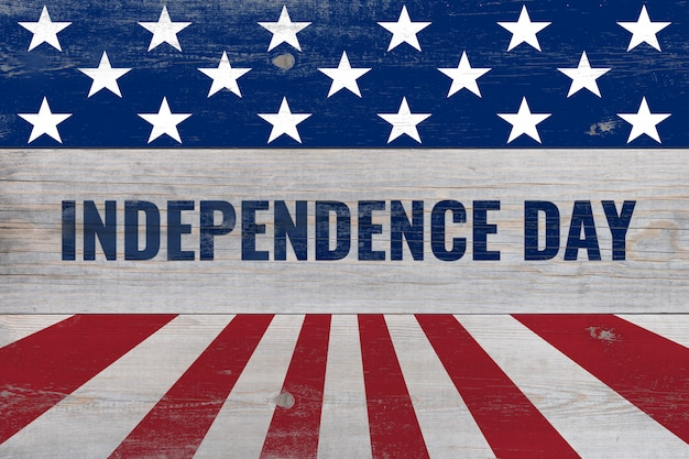 Dia da independência, escrito em pranchas de madeira
