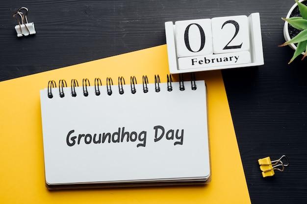 Dia da marmota do mês de inverno, calendário de fevereiro.
