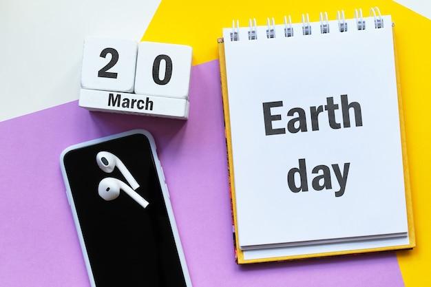 Dia da terra de março de calendário do mês de primavera.