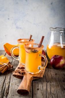 Dia das bruxas, ação de graças. outono tradicional, bebidas de inverno e coquetéis.