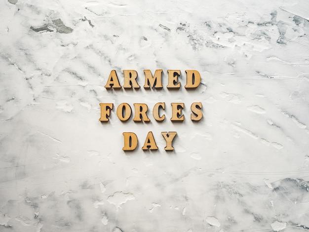 Dia das forças armadas. lindo cartão de felicitações. close-up, vista de cima.