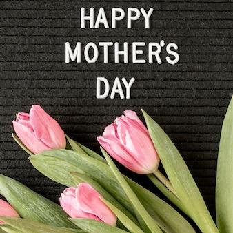 Dia das mães com flores acima da vista