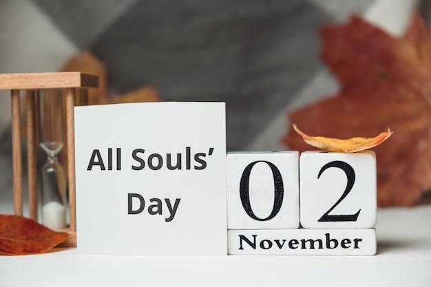 Dia de finados do calendário do mês de outono de novembro.