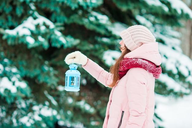 Dia de inverno. mulher segura, natal, lanterna, ao ar livre, ligado, bonito, inverno, dia neve