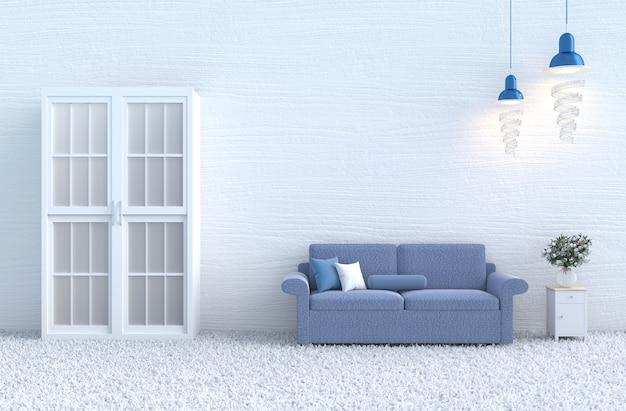 Dia de natal, ano novo. sofá azul da decoração branca da sala de visitas, parede de madeira, tapete, rosa do branco.
