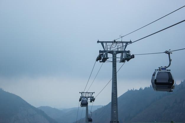 Dia de nevoeiro do teleférico