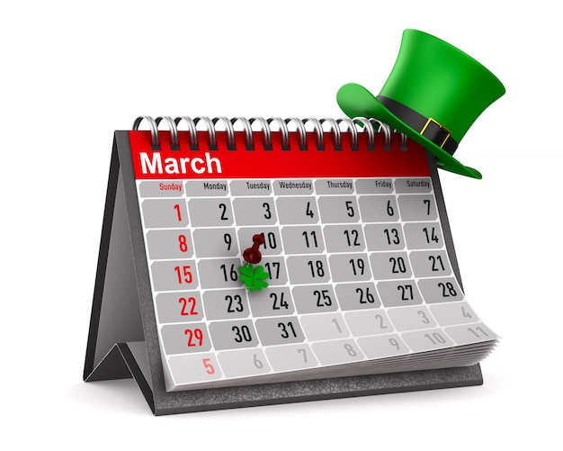 Dia de são patrício. calendário para março. ilustração 3d isolada