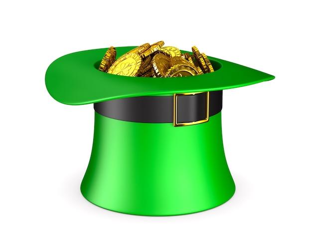 Dia de são patrício. chapéu verde com dinheiro no espaço em branco. ilustração 3d isolada