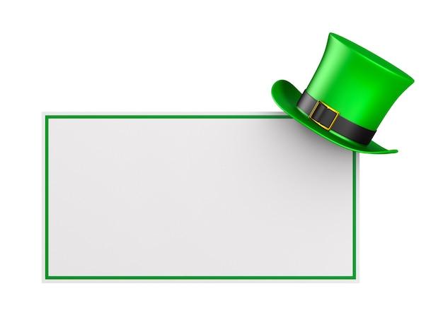 Dia de são patrício. chapéu verde e banner em fundo branco. ilustração 3d isolada