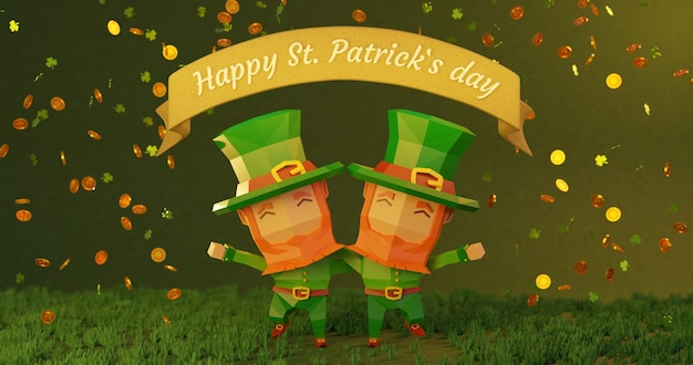 Dia de são patrício em 4k. ilustração 3d renderizada, personagens de desenhos animados de baixo poli se abraçam, moedas caindo com o sinal de trevo
