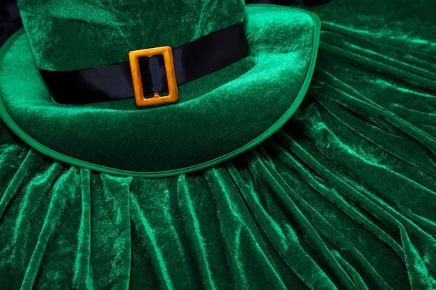 Dia de são patrício traje chapéu duende feriado verde kilt presente irlandês gravata coração marrom março