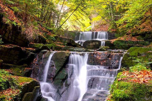 Dia de sol na floresta de verão. pequeno rio e várias cachoeiras naturais. arco de uma velha ponte de pedra