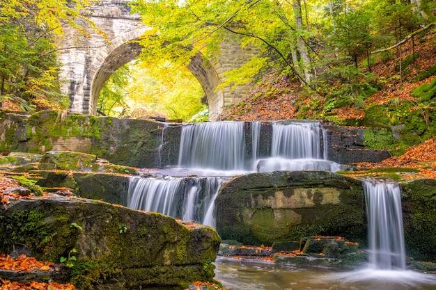 Dia de verão na floresta ensolarada. ponte de pedra velha. pequeno rio e várias cachoeiras naturais
