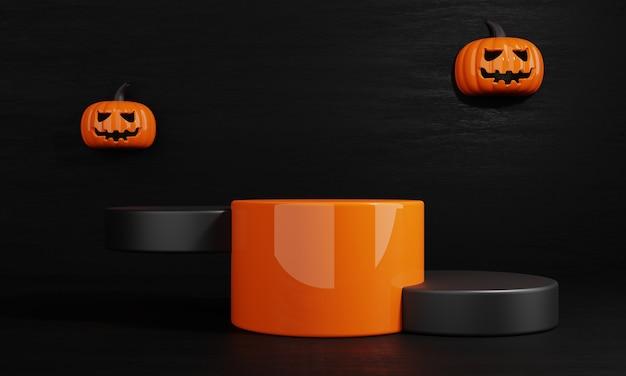 Dia do dia das bruxas laranja e abóbora preta produto pódio cenário fundo renderização de ilustração 3d