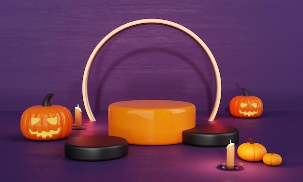 Dia do dia das bruxas laranja roxo abóbora produto palco do pódio e fundo assustador à luz de velas