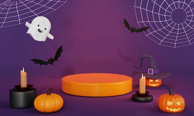Dia do halloween laranja preto com uma adorável abóbora fantasma e palco de pódio de produtos de morcegos
