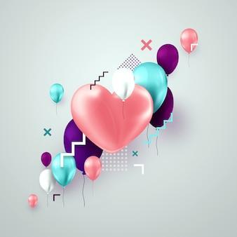 Dia dos namorados com balões rosa e turquesas na luz