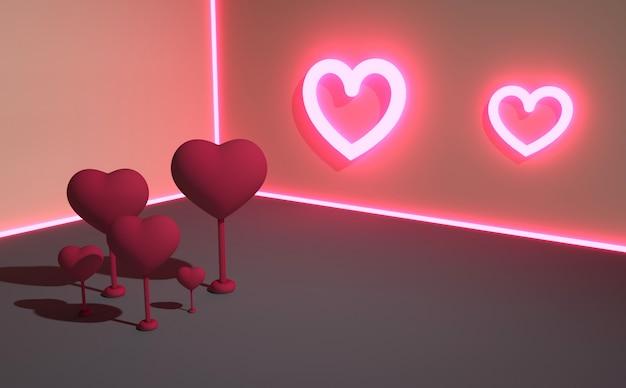 Dia dos namorados. composição 3d abstrata