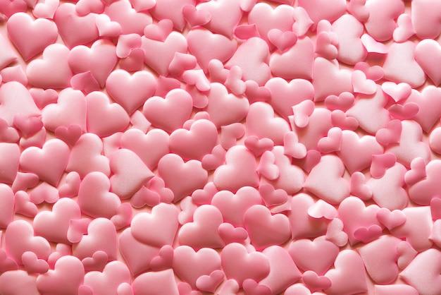 Dia dos namorados e conceito de amor. fundo rosa corações.