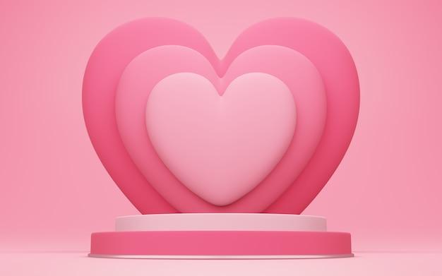 Dia dos namorados, ilustração 3d de pódio redondo ou pedestal com sala de estúdio vazia vermelha, plano de fundo do produto com sobreposição de coração atrás, maquete para exibição de conceito de amor