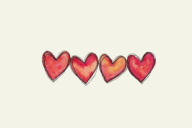Dia dos namorados mão pintada em aquarela rosa doodle corações.