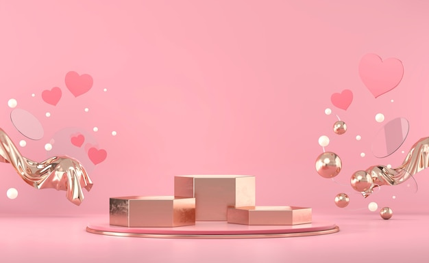 Dia dos namorados plataforma de pódio de ouro com decoração de corações para vitrine de produtos