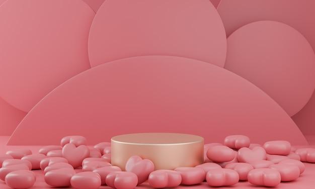 Dia dos namorados: pódio de ouro ou suporte de produtos com o símbolo dos corações do amor em fundo rosa pastel com espaço de cópia. renderização 3d.