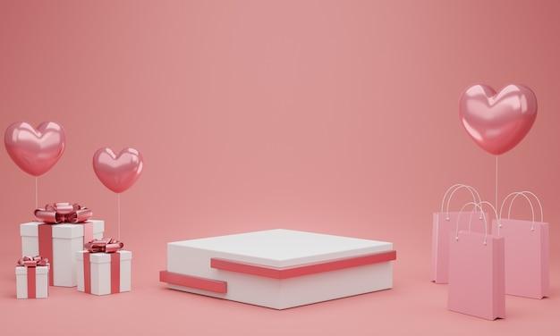 Dia dos namorados: pódio ou estande de produtos com balão de corações, caixa de presente e sacola de compras em fundo rosa pastel com espaço de cópia. renderização 3d.