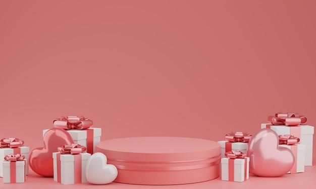 Dia dos namorados: pódio ou estande de produtos com balão de corações e caixa de presente em fundo rosa pastel com espaço de cópia. renderização 3d.