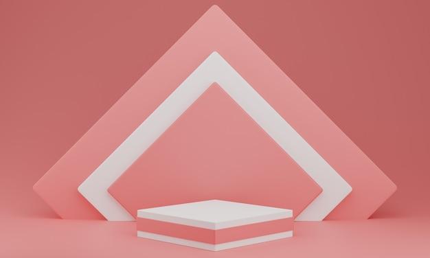 Dia dos namorados: pódio ou estande de produtos em fundo rosa pastel com espaço de cópia. renderização 3d.