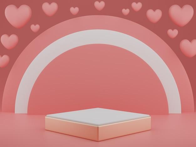 Dia dos namorados: pódio ou produto stand com o símbolo dos corações do amor em fundo rosa pastel com espaço de cópia. renderização 3d.