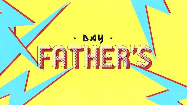 Dia dos pais de texto em fundo hipster e grunge com ruído e raios. estilo de ilustração 3d elegante e luxuoso para negócios e modelo corporativo