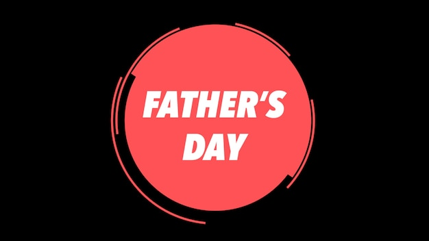 Dia dos pais de texto sobre fundo preto de moda e minimalismo com um círculo vermelho geométrico. estilo de ilustração 3d elegante e luxuoso para negócios e modelo corporativo