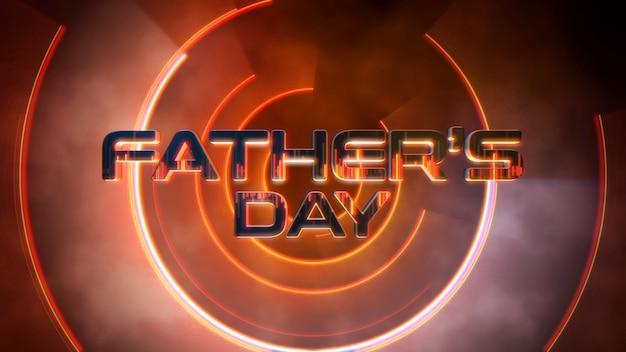 Dia dos pais do texto e círculos de néon laranja do movimento, fundo abstrato do feriado. estilo de ilustração 3d elegante e luxuoso do clube de néon dinâmico