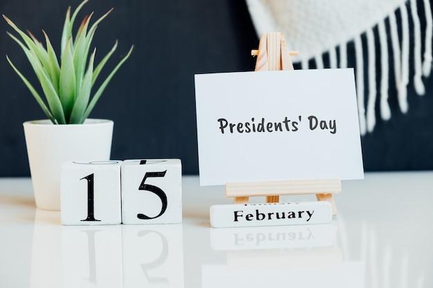 Dia dos presidentes do mês de inverno, calendário de fevereiro.