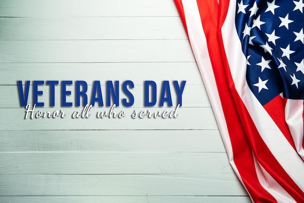Dia dos veteranos e bandeira americana